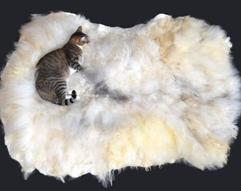 Cruelty Free, Shetland, Cat Bed, Dog Bed, Pet Bed, MultiCat Bed, Humane Sheepskin, Felted Fleece, Pet Bed, Pet Lover Gift, Natural Cat Bed,