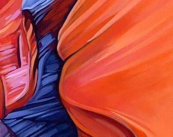 "CANYON SHADOW | 24"" x 12"" | Original Acrylic Painting | By Carol Bold | 2016"