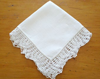 Handkerchief Hanky Hankie Hankys Antique Handkerchief Vintage White Crocheted Trim