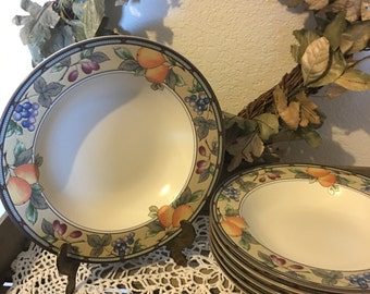 Rimmed Soup Bowls ~ Set of Six (6) ~ Mikasa Intaglio Garden Harvest Pattern ~ Excellent Condition ~ Tuscan Inspired Pattern
