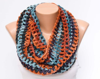 SCARF SALE -infinity Crochet scarf, knit loop scarf