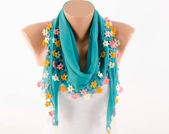 Turkish oya scarf , turkish yemeni , summer scarf with hand crocheted lace circles and tassel ,teal ,deep aqua