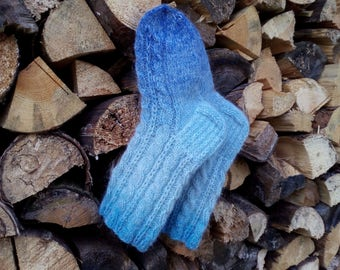 Wool Socks Warm and Soft Hand knitted cabled  leg warm gift for her Light blue socks Women's Socks Ready to ship