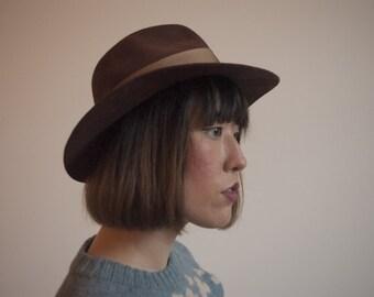 Vintage 1950s Women's Men's Brown Wool Noir Fedora Hat size small