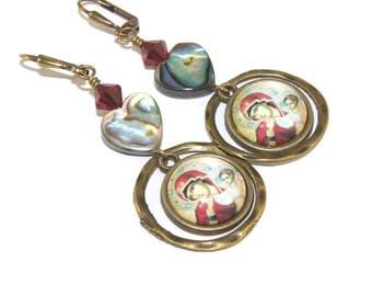 Mary Earrings - Beautiful Madonna and Paua Shell Heart Catholic Jewelry