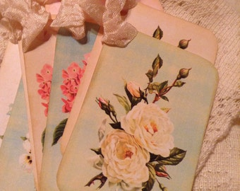 Shabby Flowers Floral Hang Tags Labels Gift Tags with Cream Hand Crinkled Seam Binding Set of 6