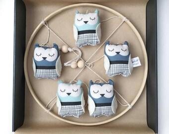 Blue Owl Mobile - Owl Theme Nursery Mobile - Baby boy gift - Baby boy nursery - Hanging owl mobile - One of a Kind - Stuffed owls
