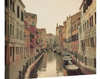 Venice Waterways Wall Canvas. Romantic City Venice Gondolas Wanderlust Travel Photo Ready-To-Hang Canvas. Wedding Housewarming Birthday Gift