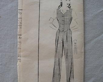 Fabulous Vintage 40s  Misses' SLACKS AND WESKIT Pattern Factory Folded