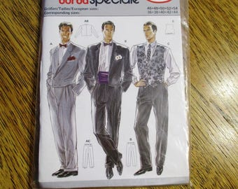 VINTAGE 1980s Men's FORMAL Short Tuxedo Jacket, Fitted Vest & Pleated Trousers - Size (46 - 54) - UNCUT Sewing Pattern Burda 5230