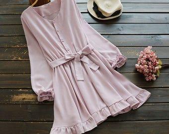 All sizes Handmade Japanese inspired Ruffled rose and Blue Chiffon Dress school girl