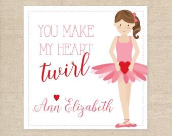 25 Printed Ballerina Valentine Treat Tags