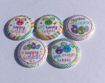 "1"" Flat back buttons Happy Easter Easter Bunny Rabbit hollow back pin back"
