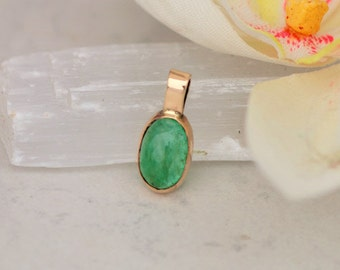 Emerald Cabochon 14K Yellow Gold Pendant, May Birthstone Gemstone Jewelry by Rogerio Graca