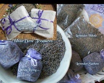 Lavender Flowers Organic Dry Whole 1oz ~ Lavender Organza Sachets - Lavender Dryer Bags ~ Lavender Bath Soak - Lavender Eye Pillow