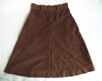 Brown corduroy skirt/ vintage A-line skirt/ short corduroy skirt size XS-S/ cute little brown corduroy skirt/ high waist skirt with pockets