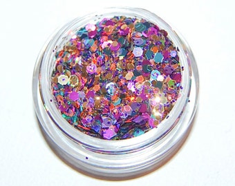 Lavender Sunset Glitter Mix: SOLVENT RESISTANT Glitter in 5 Gram Jar. Raw Nail Glitter Mix for Nail Polish and Nail Art