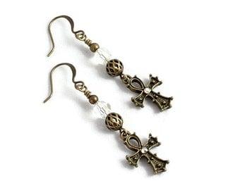 Ankh Earrings - Dangle Earrings - Egyptian Jewelry - Antiqued Gold Colored Earrings - Crystal Jewelry - Lightweight Earrings