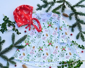 Holly and Ivy Christmas Pre-Order Tiered Cotton Knit Dress Custom Pinecone Mistletoe