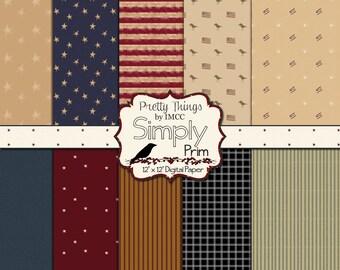 Primitive Prim Digital Download Paper Pack Rustic Vintage 12x12 Backgrounds Stars Stripes Patriotic Scrapbooking Clipart Small Business Use