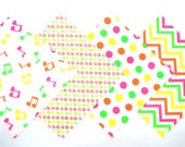 Quilt Square Clearance Grab Bag in Bright Neon Music Notes, Tiny Stars, Dots and Chevron Matching Prints 50 Squares