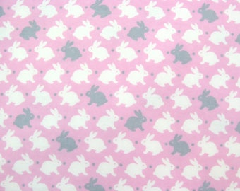 Flannel Fabric by the Yard in a Light Pink, Grey and White Bunny Rabbit Print 1 Yard