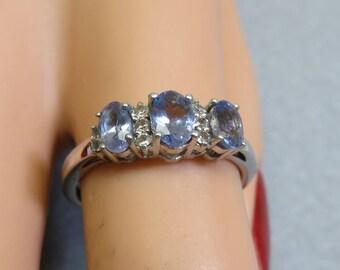 Sterling Silver Multi Iolite Ring.  Size 6.75, Vintage
