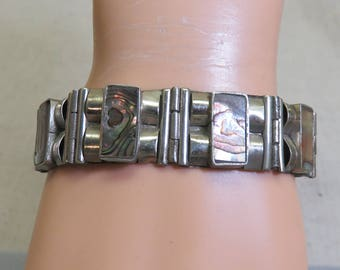Fancy Abalone Shell and Alpaca Silver Bracelet, Mexican, 7.75 inches