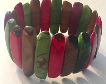 Colorful Tagua Nut Bracelet, Tagua Bracelet, Boho Jewelry, Summer Fashion, Colorful Jewelry