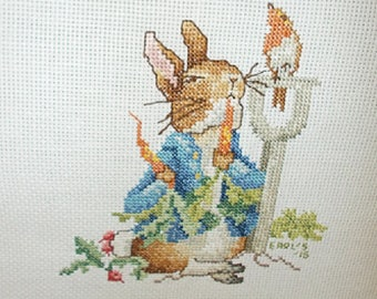 Peter Rabbit Cross Stitch Hand Stitched Completed Finished ready to Mat/Frame