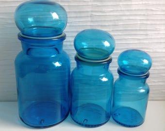 Vintage Apothecary Jar set. Turquoise Blue glass made in Belgium. Panton era. Mid century Kitsch. 1970.