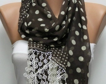 ON SALE --- Brown Polka Dot Cotton Scarf,Fall Shawl Cowl Lace Bridesmaid Gift Gift Ideas For Her  Women Fashion Accessories,Christmas Gift