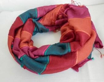 Orange & Red Silk Cotton Shawl Scarf,Summer Scarf,Bohemian,Bridal Shawl,Wedding Scarf,Gift For Women,Casual,Formal,women scarves