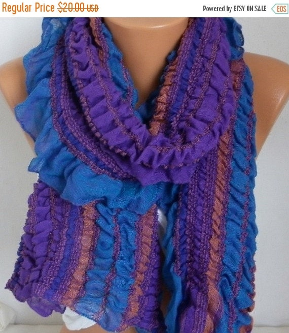 ON SALE --- Purple & Blue Ruffle Cotton Scarf, wrinkle Scarf,Bohemian Scarf Birthday Gift,Gift Ideas For Her Women's Fashion Accessories bes