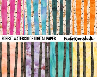 Watercolor Digital Paper Woods Tree Pattern Digital Download
