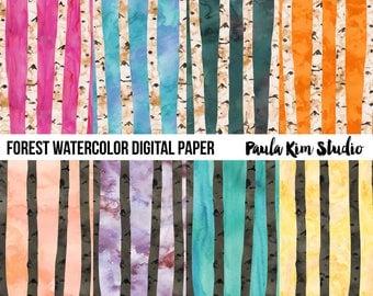 Watercolor Digital Paper Woods Tree Pattern Digital Download
