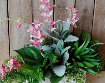 Everyday Spring Arrangement, Tropical Floral, Easter, Succulent, Pink Orchids, Flowers, Planter Arrangement, Modern Home, Mother's Day