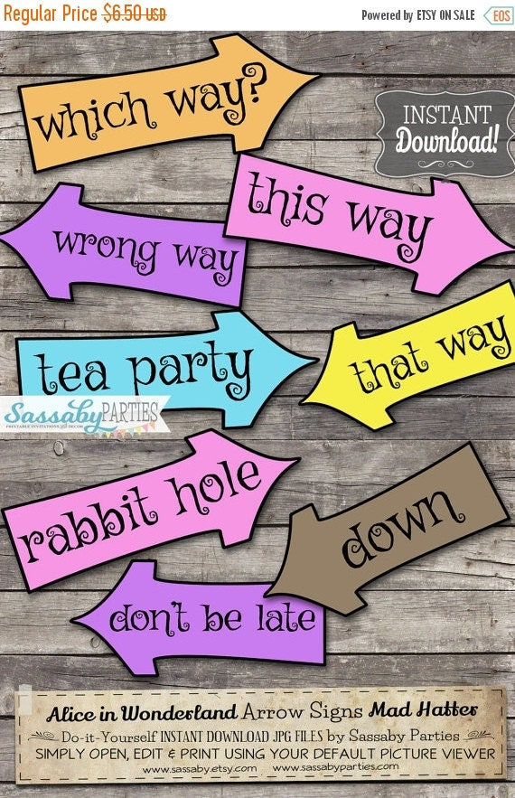 Alice in Wonderland Arrow Signs