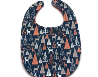 Deer in Forest Baby Bib - Coral and Navy - Unisex Baby Bib - Gift Under 15