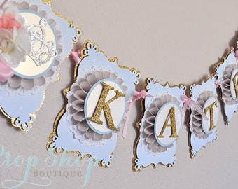 Cinderella Birthday Banner, Name Banner, Room Decor, Bunting, Special Occasion