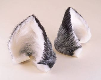 Small Fox with Puffs Silver Gray Gray White Black Long Fur Leather Fox Ears Kitsune Cosplay Furry Goth Fantasy LARP Costume Pet Play