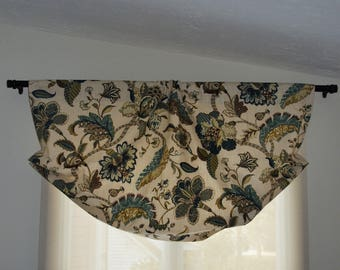 Gathered, Rod Pocket Mock valance, Faux Relax Roman shade, P. Kaufman finders keepers blue.