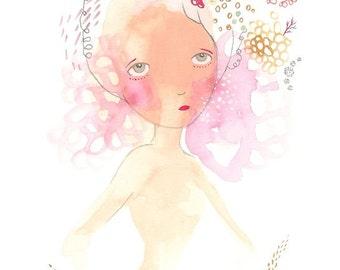 Whimsical art, naive art, pink abstract art, girl illustration, unusual wall art