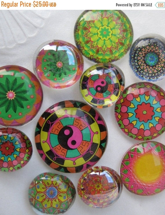 "ON SALE Dozen Mandalas Glass Fridge Magnet Set (12) Twelve magnets mandalas in three sizes S(1/2 ""),M(1""),L(1.2"")"
