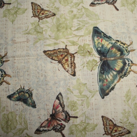 Butterfly fabric,Butterfly Melody Music Susan Winget,100 percent cotton,Quilt fabric,Craft fabric,Apparel fabric,Fabric by the FAT QUARTER