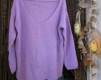 Light Purple / Violet Long Sleeves V-Neckline Knit Sweater Tunic Top - Large to XLarge