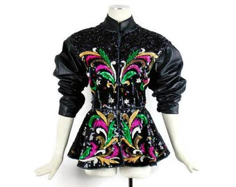 Reduced Designer Vintage LEATHER and SEQUIN PEMPLUM Avant Garde Evening Jacket One of a Kind Street Style Look