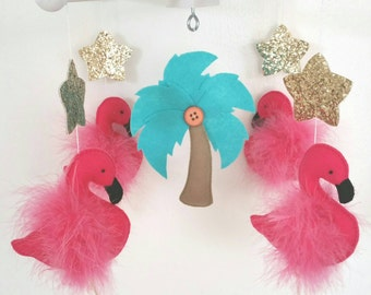 Baby Crib Mobile-Flamingos baby mobile- Flamingo Mobile-hot pink, turquoise and gold flamingos custom Made Mobile