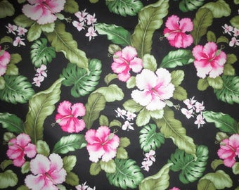 """Cotton Floral Fabric // Yardage, Black with Pink and Green // Tropical Floral // David Textiles...45"""" wide X 2 yards, 22"""" long"""
