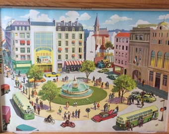 Rossignol Vintage French School double-sided poster The Town and The Station